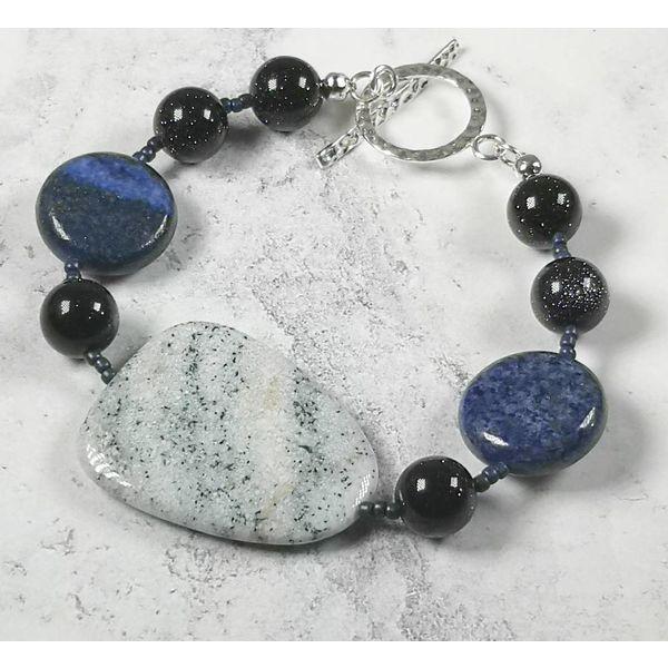 Ice blue agate, lapis  Bracelet