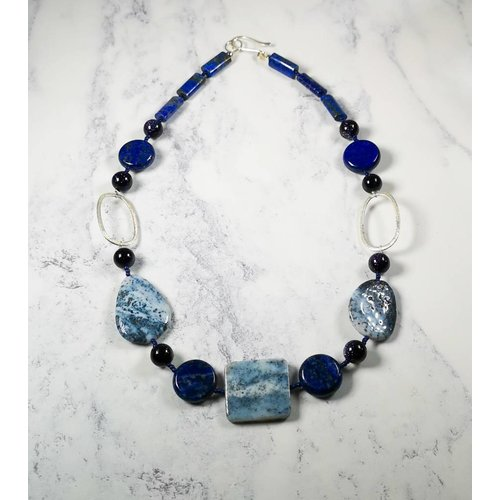 Melissa James Ice Blue Agate, Lapis, silver hoop Necklace