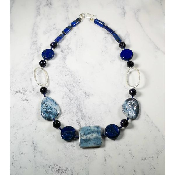 Ice Blue Agate, Lapis, silver hoop Necklace