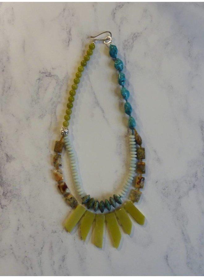 Jadestick, Amazonit, afrikanische Türkis Multistone Halskette Halskette
