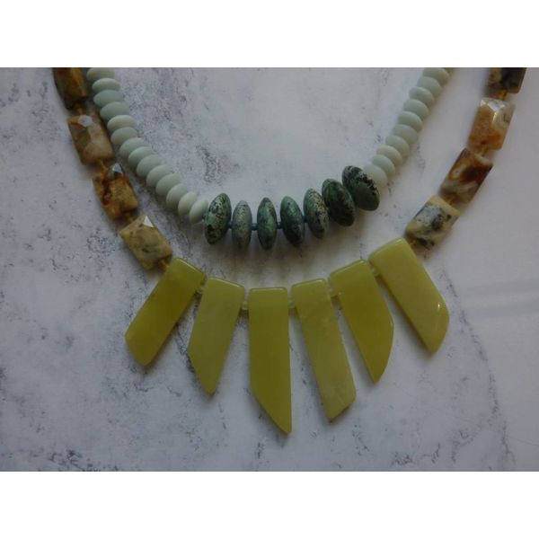 Jade Stick, Amazonite, African Turquoise Multistone Necklace Necklace