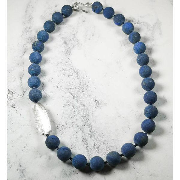 Lapis matt bead and  silver pod Necklace