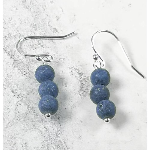 Melissa James Lapis tiny beads and silver hook Earrings