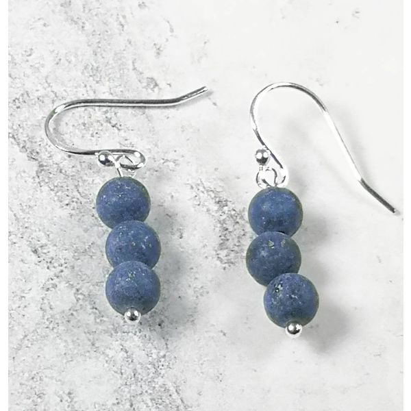 Lapis tiny beads and silver hook Earrings