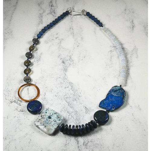 Melissa James Lapis, blue lace agate, copper hoop Necklace