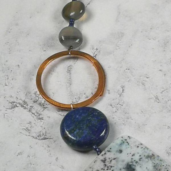 Lapis, blue lace agate, copper hoop Necklace