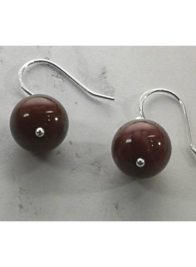 Mookaite and silver hook Earrings