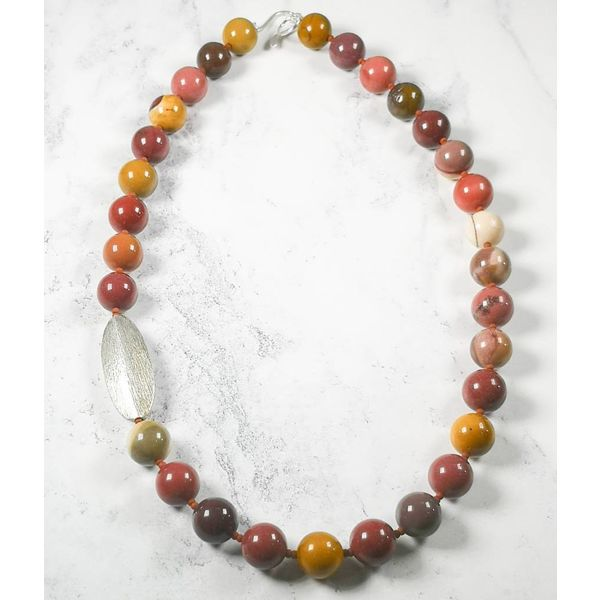Mookaite and  silver pod Necklace