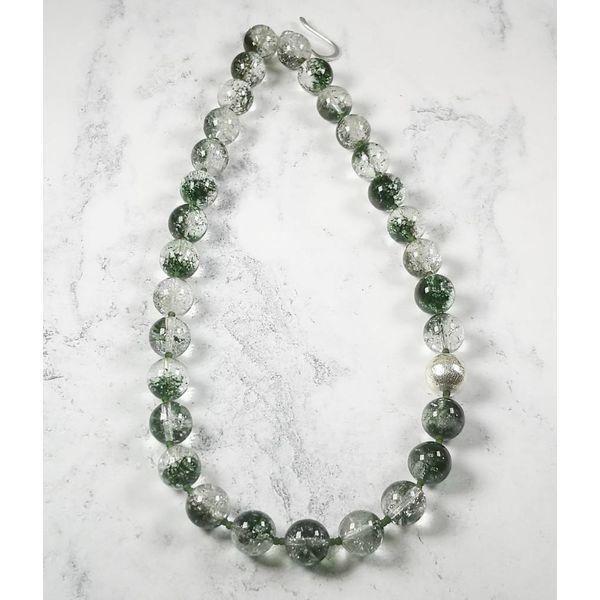 Moosachat und Silberperlen Halskette