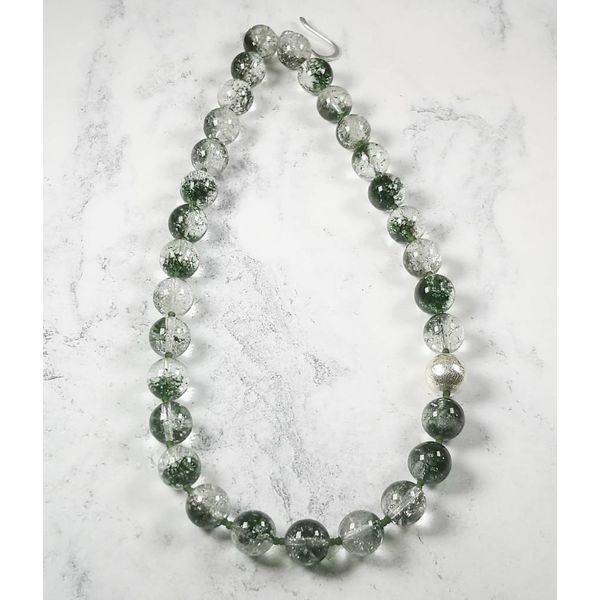 Moss Agate and  silver bead Necklace