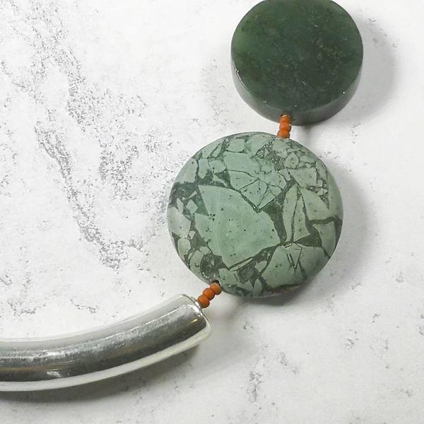 Tiger iron, jasper, jade, seaglass, coral, silver Necklace