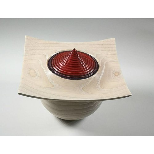 Kevin Hutson Limed natural ash and red lidded box