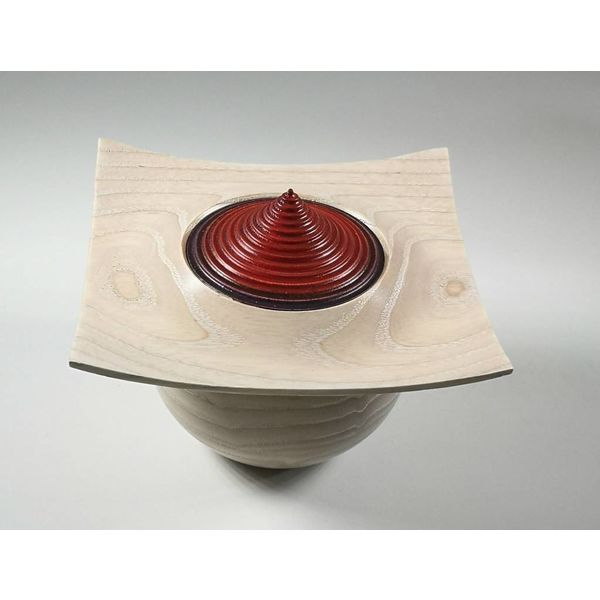Limed natural ash and red lidded box