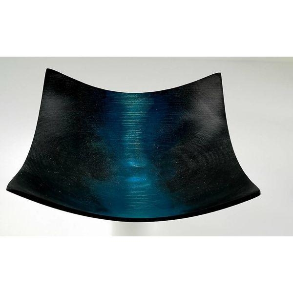 Square ash black and blue bowl