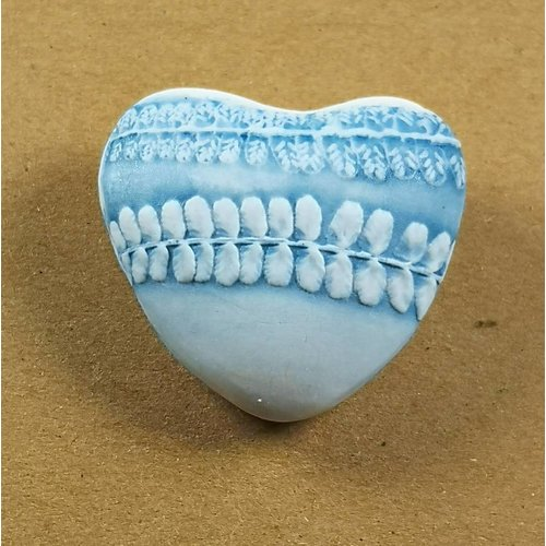 Clare Mahoney Heart Hand Made Porcelain textured touchstone 033