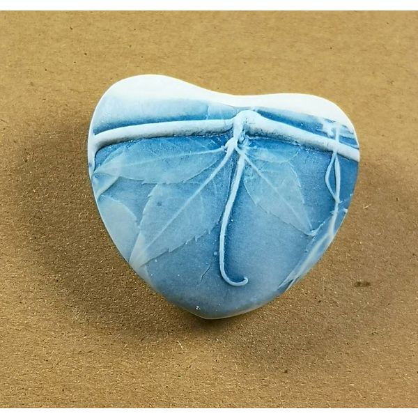 Heart Hand Made Porcelain textured touchstone 036