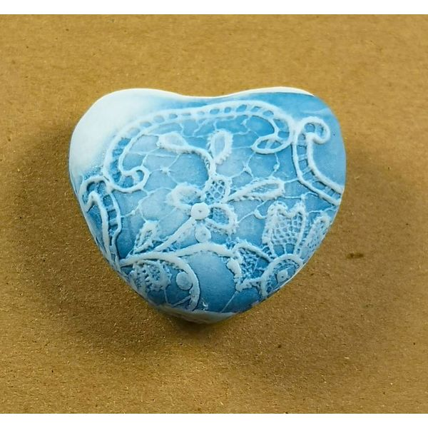 Heart Hand Made Porcelain textured touchstone 037