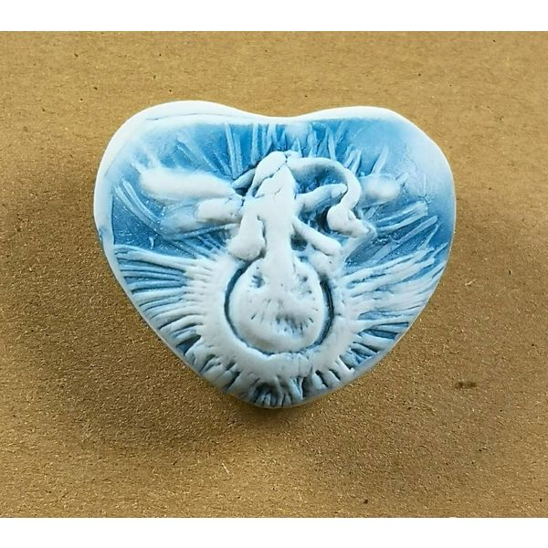 Heart Hand Made Porcelain textured touchstone 038