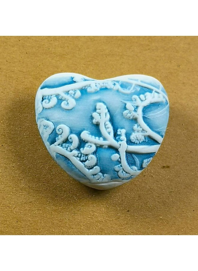 Heart Hand Made Porcelain textured touchstone 041