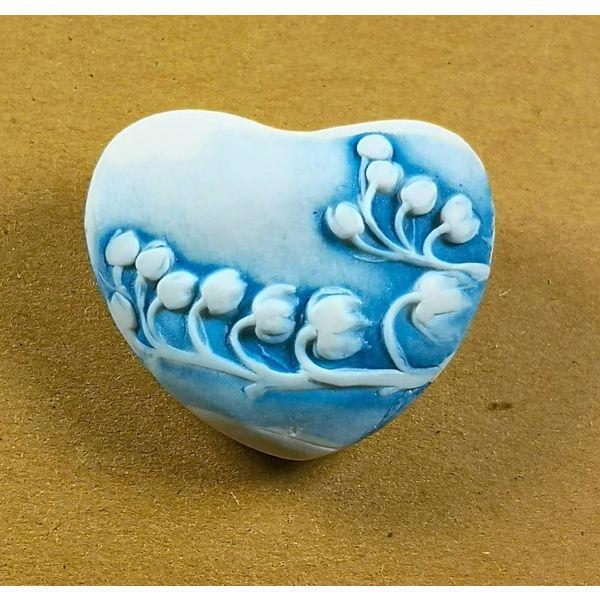 Heart Hand Made Porcelain textured touchstone 041