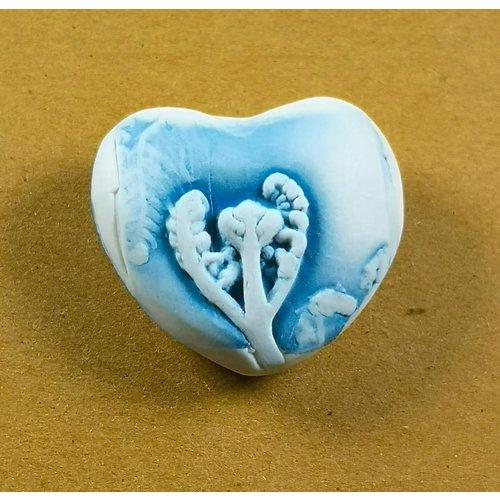 Clare Mahoney Herz Hand Made Porzellan strukturierten Prüfstein 035