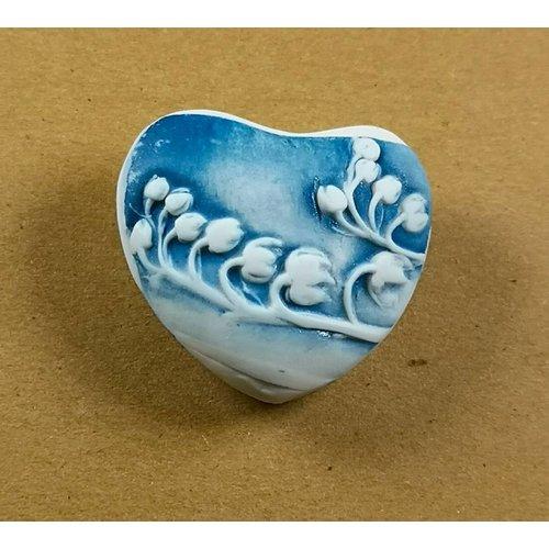 Clare Mahoney Herz Hand Made Porzellan strukturierten Prüfstein 042