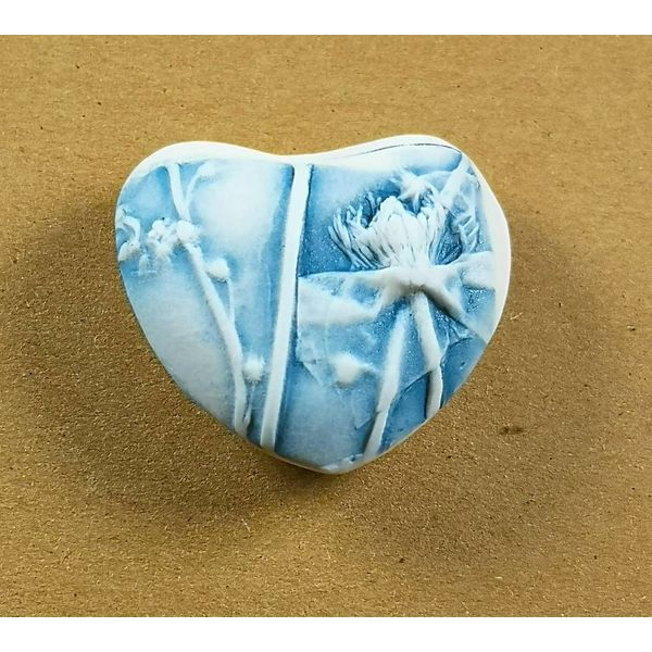 Heart Hand Made Porcelain textured touchstone 042