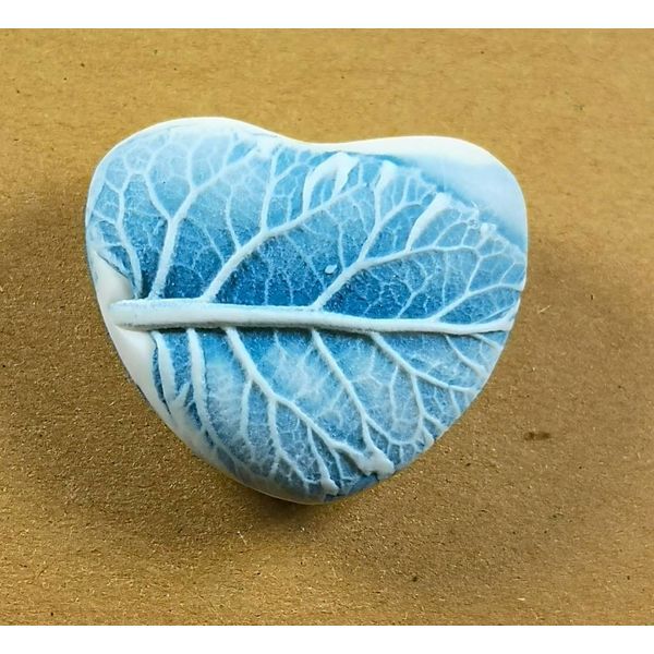 Heart Hand Made Porcelain textured touchstone 043