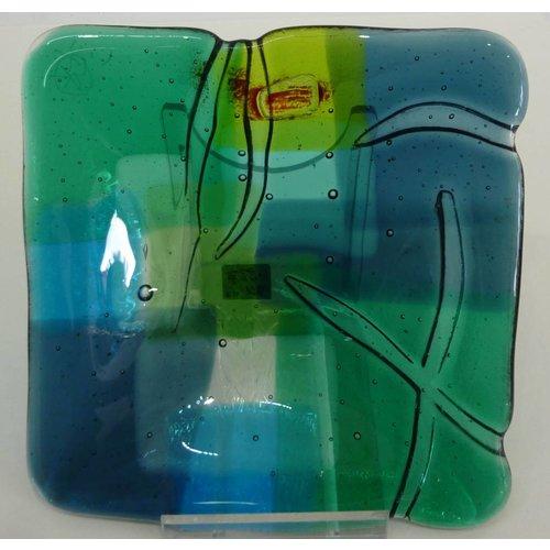 Kim Bramley Landscape 3 shallow glass dish