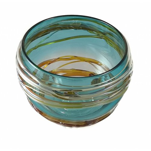 Allister Malcolm Glass Turquoise and Gold small trailing glass bowl