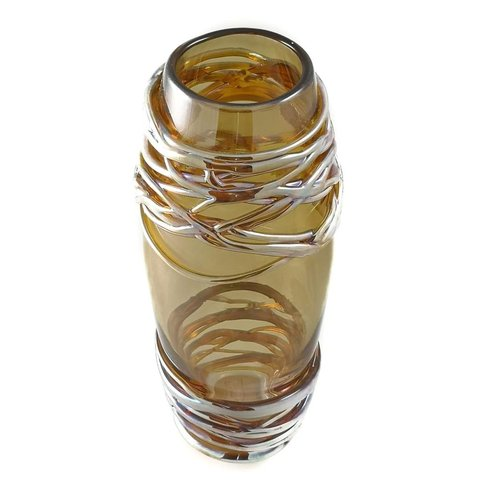Allister Malcolm Glass Amber and platinum trainling glass vase