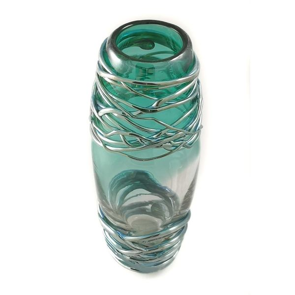 Green and platinum trailing glass vase