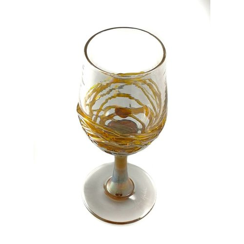 Allister Malcolm Glass Gold trailing glass wine goblet