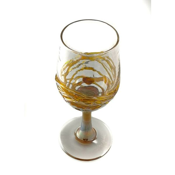 Gold trailing glass wine goblet