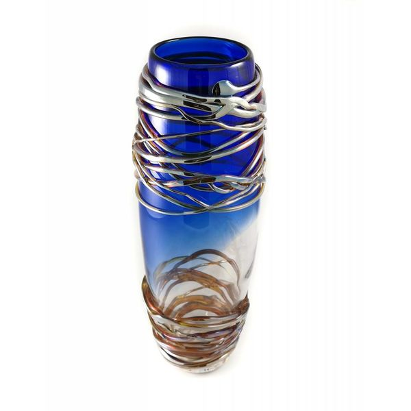 Cobalt, gold and silver trail tall glass vase