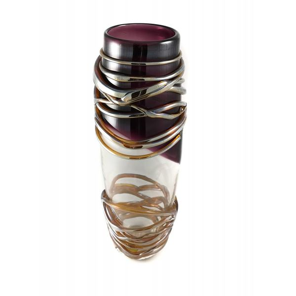 Amythyst, gold and silver trail tall glass vase