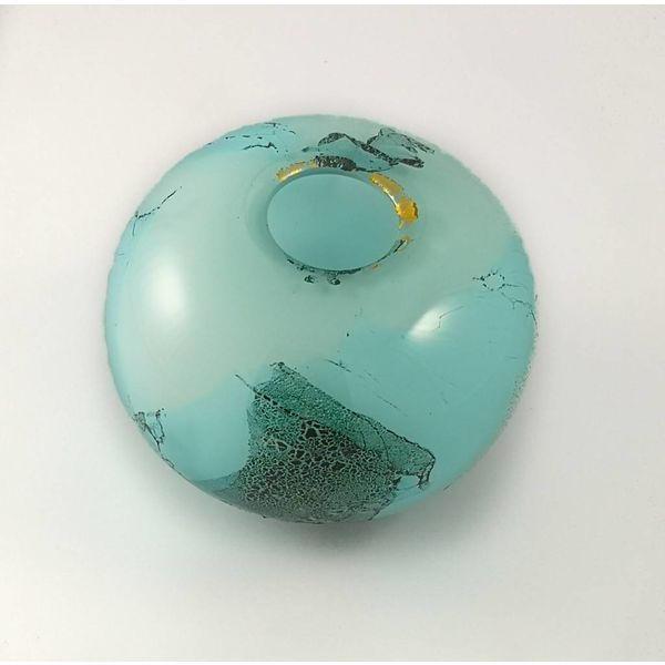 Ocean surface glass and metals globe small