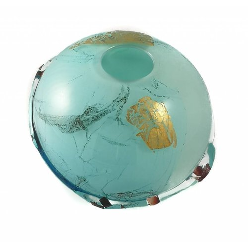 Laura Smith Ocean surface glass and metals globe