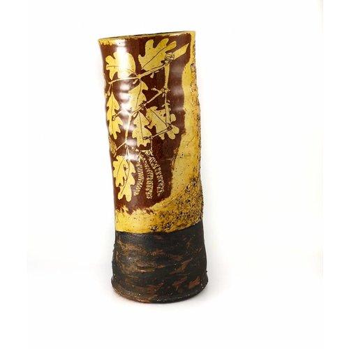 Mary Johnson Garden Allotment Slipware Tall Vase 8
