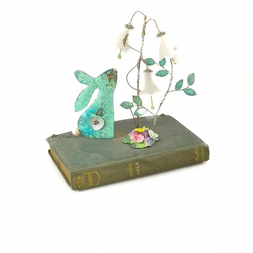 Beastie Assemblage Hare on Book with Harebells Assemblage 145mm