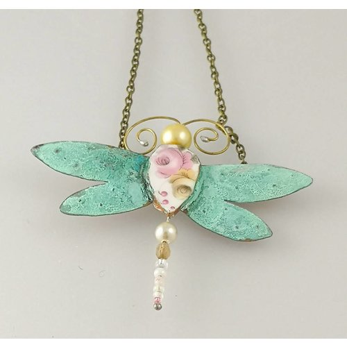 Beastie Assemblage Dragonfly Necklace 006