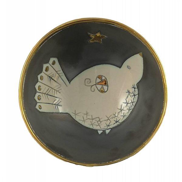 Cuenco de cerámica pequeño pájaro con estrella 001