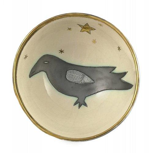 Sophie Smith Ceramics Cuenco de cerámica pequeño Black Bird with Star 002