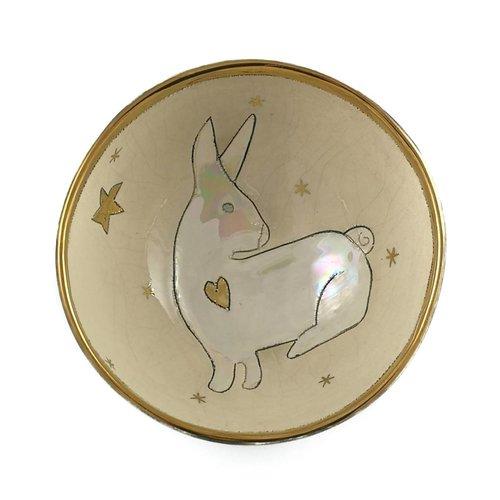 Sophie Smith Ceramics Conejo con cuenco pequeño de cerámica 003