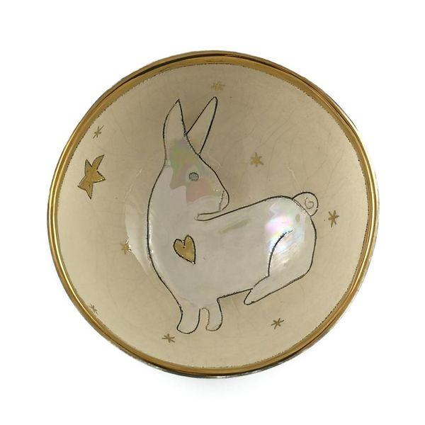 Kaninchen mit Stern kleine Keramikschale 003