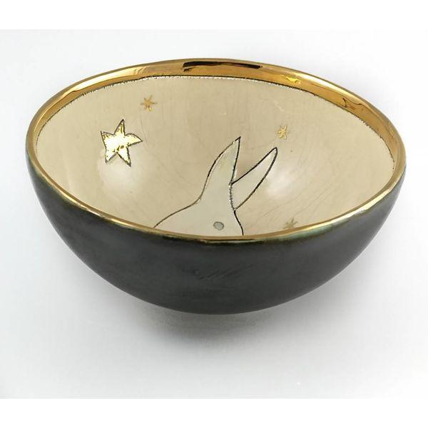 Conejo con cuenco pequeño de cerámica 003
