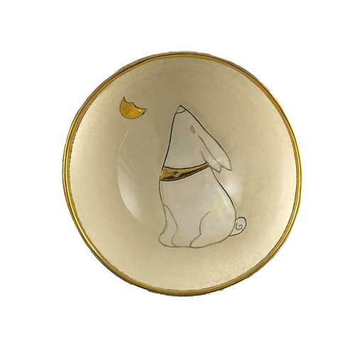Sophie Smith Ceramics Moon Gazing  Hare with  Moon small ceramic bowl
