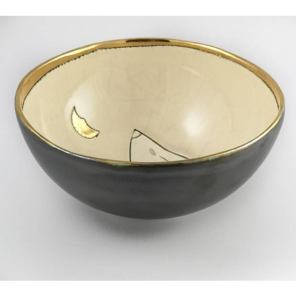 Moon Gazing  Hare with  Moon small ceramic bowl