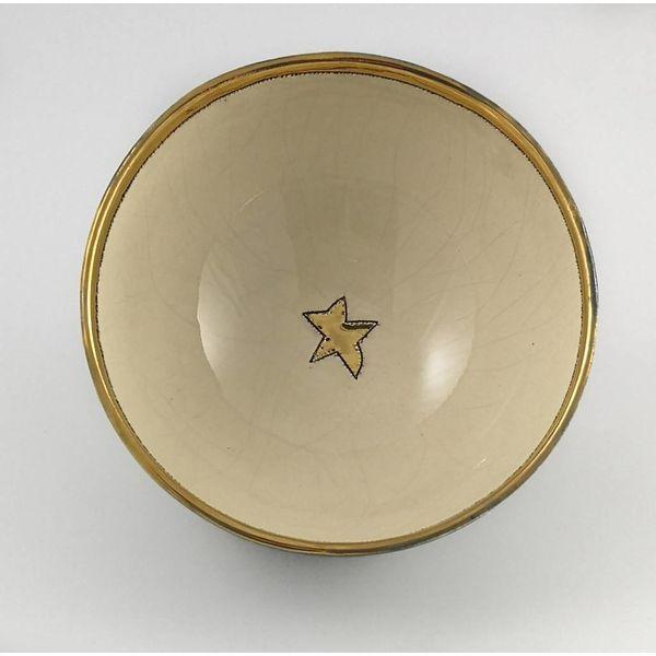 Star small cream and black ceramic bowl