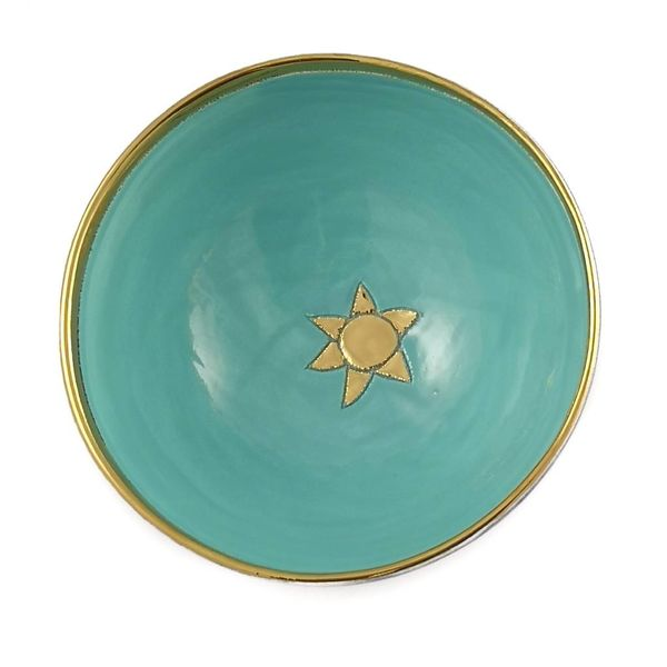 Star small turquoise ceramic bowl 008